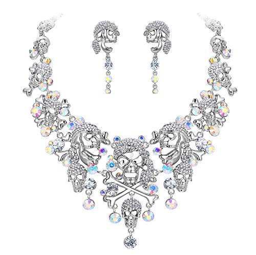 chische Kristall Halloween Schädel Knochen Kreuz Halskette Ohrringe Set Klar Silber-Ton ()
