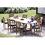 """""""The Deauville"""" Giant Top Grade SVLK Compliant 10 Foot Teak Double Extension Outdoor Dining Set New 2015 Model"""