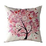 Manadlian Cushion Cover, 2017 Flower Tree Colorful Pillow Case Sofa Waist Car Home Decor Throw Cushion Cover (45 * 45cm, pink)