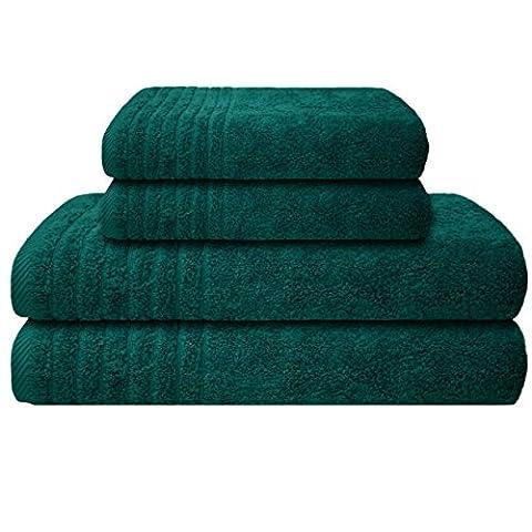 Gallant 4 tlg Handtücher Set Duschtuch Set petrol 2 Handtücher 50x100 cm 2 Duschtücher Badetücher 70x140 cm groß Handtuch Duschtuch Badetuch 100% Baumwolle Duschhandtuch-Set Handtuch-Set