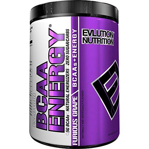Evlution Nutrition BCAA ENERGY | Integratore In Polvere Di Amminoacidi Ramificati Per Alto Rendimento Resistenza Recupero Aumento Muscoli | Confezione Da 30 Dosaggi Al Gusto Furious Grape