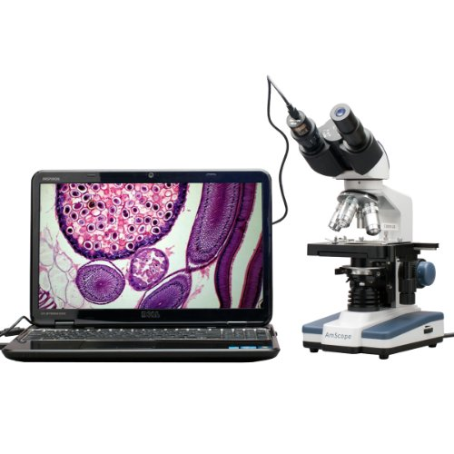 Amscope 40x-2500X Digitales Binokular Compound Mikroskop mit mehreren Objektiven mit mechanischen Kreuztisch X/Y 5MP USB Kamera Video LED Beleuchtung Grob und Feineinstellung