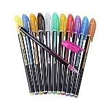 Stylos Gel Pailletté Multicolores Stylo Gel Fluorescent Coloré, 12 Couleurs Différentes Stylo Gel Glitter pour Dessin Peinture Marqueur Papeterie