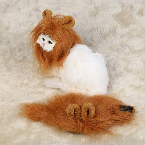 kemai Lion Hair Kopfbedeckungen für Kleine Hunde und Katzen Pet Kostüm Lion Mähne Perücke Halloween Dress up mit Ohren für Weihnachten Ostern Festival Party Activity (Lion Ohren Halloween)
