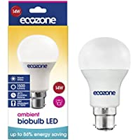 Ecozone LED Biobulb, Energy Saving, Bayonet Cap B22 Fitting, Warm White, 14W Equivalent to 100W, 1500 Lumens, 2700K Ambient, Up To 86% Energy Saving, Up To 25,000 Hours Lifetime, Energy Class A+