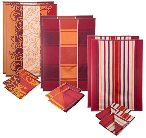 12er Set-Küchenhandtuch-Geschirrhandtuch-Saugstark-Schnelltrocknend-50x70-rot