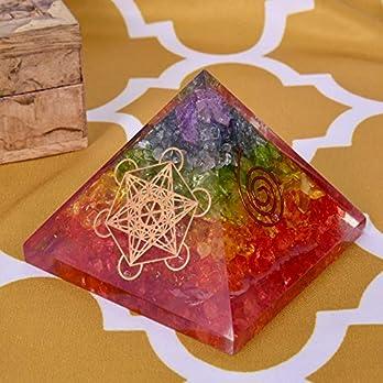 Natürlicher Kristall Regenbogen Multistone Orgon Pyramide Energiepyramide Mit EMF Schutz für Heilmeditation Ausgleich Positive Energie Herz Chakra Symbol