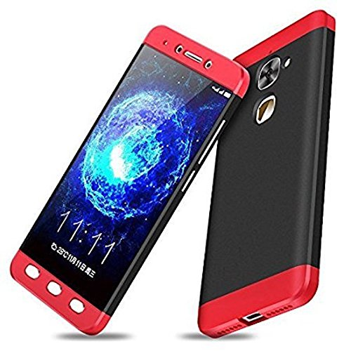AEETZ Shockproof Case, Knight Series 3 IN 1 Case [Hard] Hybrid PC [Milk Paint] 360 Full Protection Mobile Back Case for LeEco Le 2 - Red Black