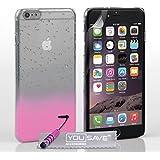 Yousave Accessories Coque iPhone 6 Plus Etui Rose Clair / Clair Dur Goutte De Pluie Housse Avec Mini Stylet
