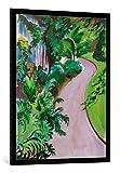 kunst für alle Bild mit Bilder-Rahmen: August Macke Gartenweg - dekorativer Kunstdruck, hochwertig gerahmt, 75x100 cm, Schwarz/Kante grau