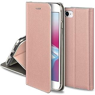 Moozy Hülle für iPhone 7 / iPhone 8, Rose Gold PU-Leder - Elegant metallischer Kantenschutz Klapphülle Handyhülle mit Kartenfach und Standfunktion