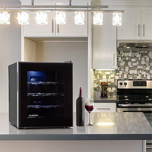 Klarstein Barolo - Cave à vin, Porte en verre doublement isolée, 3 tiroirs métalliques, 48 litres, 16 bouteilles standard, Eclairage intérieur LED, Facile à nettoyer, Noir