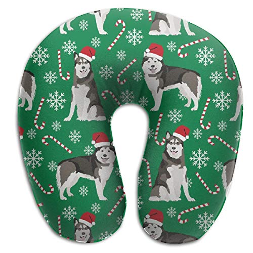 Travel Pillow,Alaskan Malamute Peppermint Stick Candy Canes Winter Snowflakes Dog Green Memory Foam U Neck Pillow for Lightweight Support In Airplane,Car,Train,Bus Miss Candy Cane