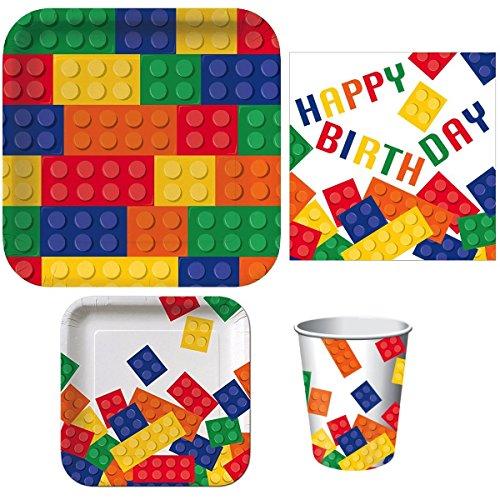 Bausteine Geburtstag Party liefert Paket enthält Abendessen Teller, Dessertteller, Teller, Servietten Happy Birthday und Heiß/Kalt Tassen (dient 16) -
