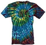 Guru-Shop Batik T-Shirt, Herren Kurzarm Tie Dye Shirt, Blau/Braun Spirale, Baumwolle, Size:XXL, Rundhals Ausschnitt Alternative Bekleidung