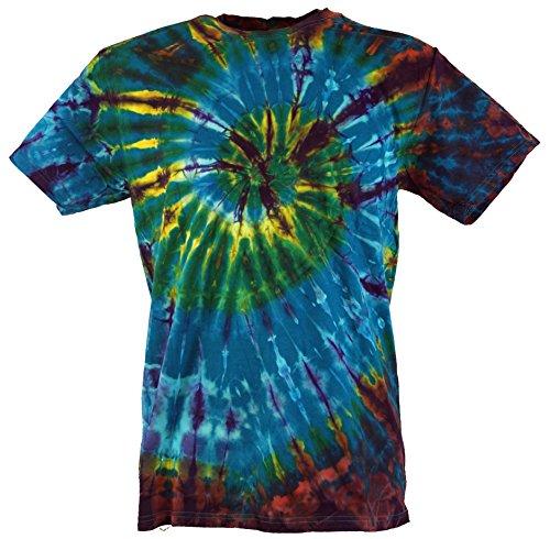 Guru-Shop Batik T Shirt, Herren Kurzarm Tie Dye Shirt, Blau/Braun Spirale, Baumwolle, Size:XXL, Rundhals Ausschnitt Alternative Bekleidung (Tie-dye Grün Blau)