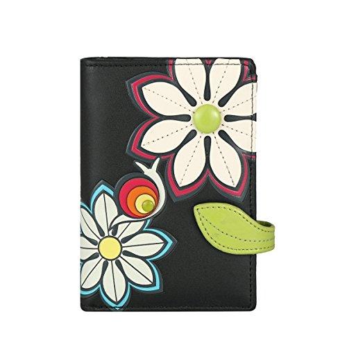 Menkai rfid borsa del portafoglio disegno fiori 772c2 nero