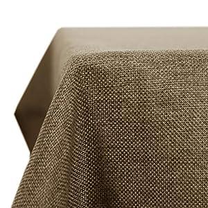 Deconovo Leinenoptik Tischdecke Wasserabweisend Tischwäsche Lotuseffekt Tischtuch 130x130 Taupe