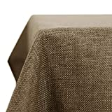 Deconovo Nappe Rectangulaire Anti Tache Impermeable Effet Lin pour Table 150x240cm Taupe Clair
