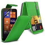 (Grün) Nokia Lumia 625 Schutzfolie Faux Credit / Debit Card Leder Flip Skin Case Hülle Cover, Aus- und einfahrbarem Touch Screen Stylus Pen & LCD Screen Protector Guard von Spyrox
