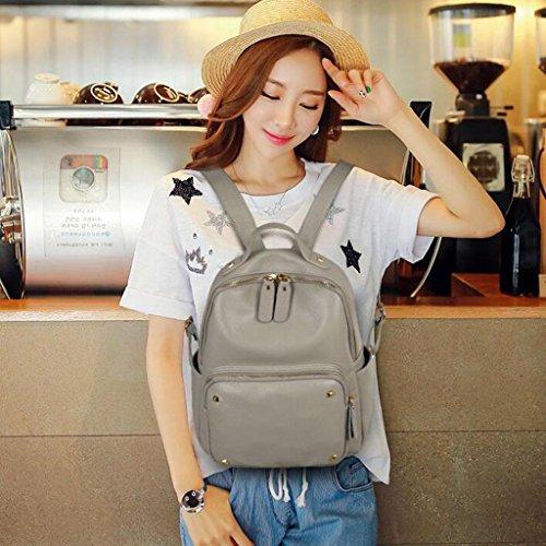 Y&F Leder Schultertasche Nietrucksack Student BeiläUfige Tasche Reisetasche 27 * 14 * 31 Cm gray