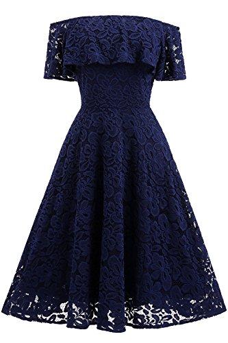Gigileer Vintage 1950s Damen Kleid Spitzenkleid Off Schulter knielang festlich Cocktail Abendkleid Navy L