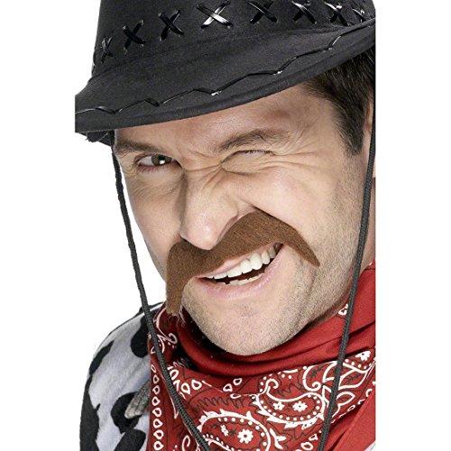 NET TOYS Cowboy Bart Kunstbart Braun Schnurrbart Fasching Bart Schnauzer Schnauzbart Schnäuzer Kostüm Zubehör Sherriff