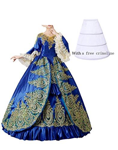 Nuoqi damen Damen Gothic Viktorianischen Kleid, Langarm Renaissance Mittelalter Bekleidung, Maxi...