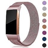 Onedream Kompatibel für Fitbit Charge 3 Armband Damen Herren Metall Edelstahl Ersatzarmband (Rosa, Large)