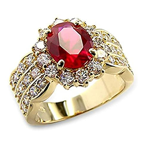 4.60ct LADIES BLOOD RED RUBY (10.8mm) RING. GENUINE SIMULATED DIAMONDS