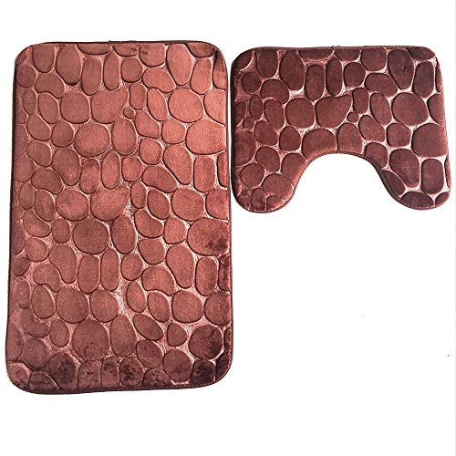 teiliges Set, WC Badezimmer Vorleger Set (Bad Teppich + Pedestal Teppich), Flanell Einfarbig Kieselsteine Prägen Badteppich Set (Kaffee) ()