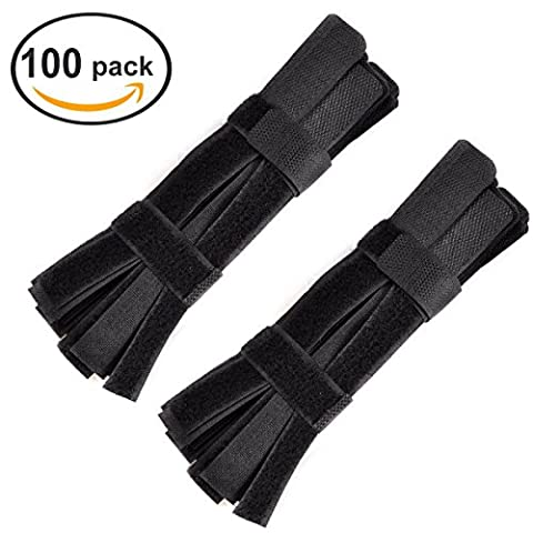 Ezakka réutilisable Velcro Attaches de câbles noires pour fermeture de fils Sangles de l'organisation tenant Cordes à la maison, au bureau, 100-Pack
