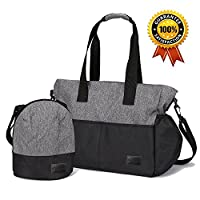 Klokol Baby Nappy Changing Bag (+ Insulated Pocket) 10 Pockets Large Capacity Diaper Bag Waterproof Stylish Mommy Tote Handbag Multifunctional Shoulder Messenger Travel Bag for Outdoor (Black Grey)