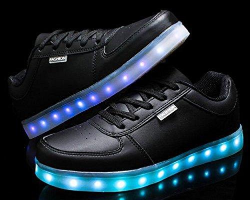 [Present:kleines Handtuch]JUNGLEST 7 Farbe USB Aufladen LED Leuchtend Sport Schuhe Sportschuhe Sneaker Turnschuhe für Unisex Erwachs Schwarz