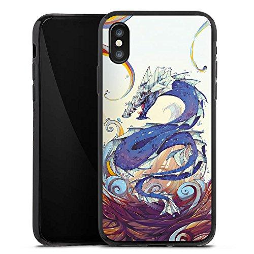 Apple iPhone X Silikon Hülle Case Schutzhülle Drache Wasser Fantasie Silikon Case schwarz