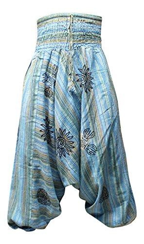 Shopoholic Fashion Acid wash Baumwolle Streifen Haremshose, Hippy Hose Blau - Turquoise Blue
