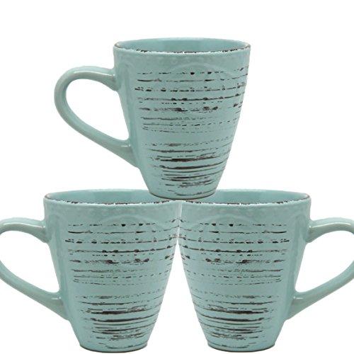 Bada Bing 3er Set Kaffee Tasse Becher Türkis blau Landhaus