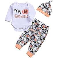 Ropa Bebe Hipster,(6-24M) Halloween Baby Long Sleeve Letter Print Haber Escalada Traje + Pantalones de Impresión de Dibujos Animados + Sombrero Set,Blanco,70,80,90,100