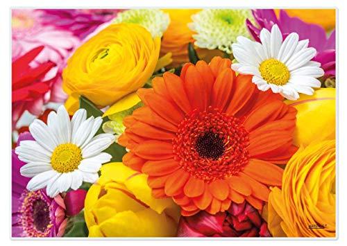 Tischsets Platzsets abwaschbar Flower Power von ARTIPICS 4er-Set Kunststoff 42x30 cm