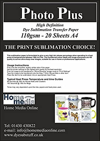 High Definition Dye Sublimation Heat Transfer Paper - 20 Sheets A4