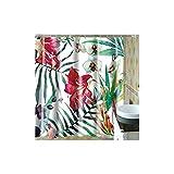 KnSam Duschvorhang Vorhänge Badewannevorhang Blume Blatt Wasserdicht Anti-Schimmel inkl. 12 Duschvorhangringe für Badezimmer 165x180cm
