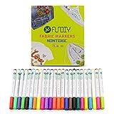 FUNDIY Textilmalstifte von 24 Farben Permanent Fabric Marker mit feinen Tipps Hochwertige Tinte ungiftig und sicher für Kinder