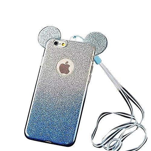 MOMDAD TPU Silicone Coque iPhone 6 Plus Souple Silicone Coque iPhone 6S Plus Absorption de Choc Coque de Protection en TPU pour iPhone 6 Plus Neuf Case iPhone 6 Plus Plating Housse Élégant Shell Télép Gradient Ear-Bleu