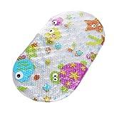 LEXPON Rutschfeste Babybadewannen-Nette Karikatur-Muster-Badewannen-Matte Antibakterielle Mehltau-beständige Rutschfeste Matte mit Saugschalen für Kinder