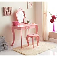 Caprican Amelia Vanity Childrens girls Pink Wooden Dressing Table Mirror & Stool