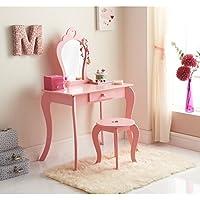 Preisvergleich für Caprican Amelia Vanity Kinder Mädchen Pink Holz Schminktisch mit Spiegel und Hocker