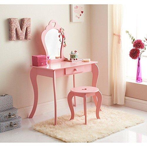 Caprican Amelia Schminktisch für Kinder, mit Spiegel und Hocker, Holz, rosa