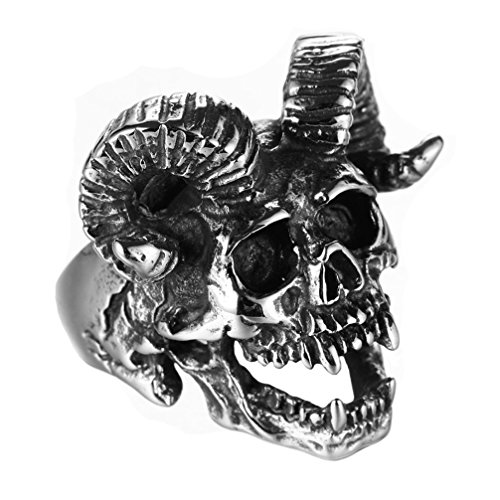 PAMTIER Herren Edelstahl Jahrgang Satan Ziege Horn Schädel Ring Silber Schwarz Größe 57 - Schädel-ringe-titan