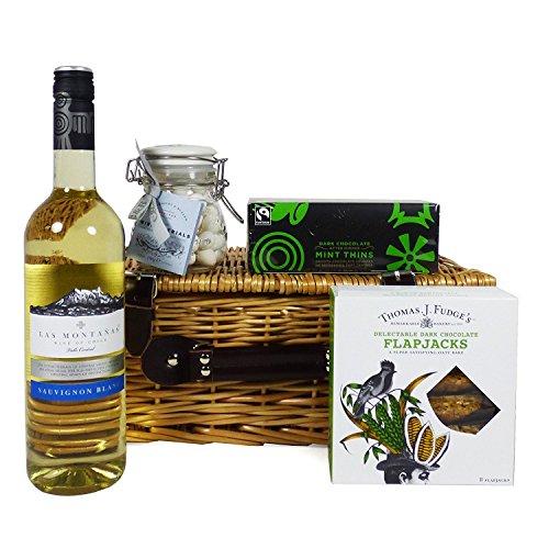 Cesta de regalo con vino blanco y golosinas - El regalo de cumpleaños, como agradecimiento, para la inauguración, Día de la Madre