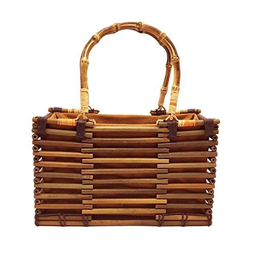 Meaeo Frauen Vintage Bambus Tasche Kordelzug Frau Strand Stroh Handtasche Bohemian Hohle Dame Stricken Taschen Handgemachte Rattan Woven Tote